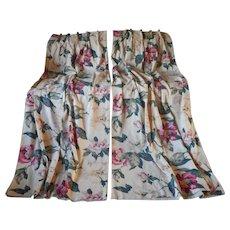 1940s Barkcloth Curtains Pink Cream Peony Peonies Vintage Pair 71 Inch