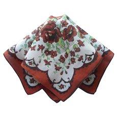 Vintage Hankie Linen Print Brown Floral Handkerchief