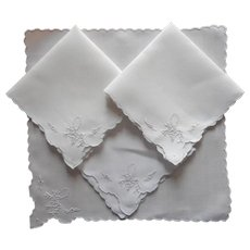 Tea Napkins Vintage 1920s to 1930s Linen Hand Embroidery 4