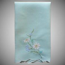 Aqua Madeira Fine Guest Towel Vintage Appliqued Hand Embroidered