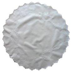 Antique Cutwork Centerpiece Doily Hand Embroidered All White