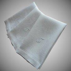 Monogram T Antique Linen Damask 3 Hand Towels