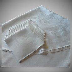 Oval Damask Tablecloth 12 Napkins Set Vintage Linen 68 x 122