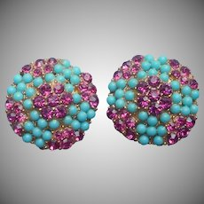 Vintage 1950s Earrings Faux Turquoise Faux Pink Sapphire Clip