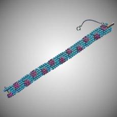 Vintage 1950s Bracelet Faux Turquoise Faux Pink Sapphire