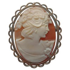 Cameo Pin Pendant Vintage Krementz Gold Filled Carved Shell