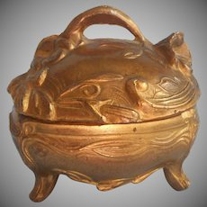 Ring Presentation Box Antique Art Nouveau Cast Metal Jewelry Casket