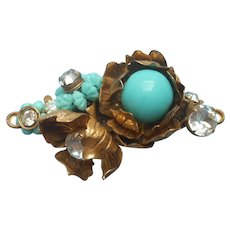 Miriam Haskell Pin Vintage Signed Turquoise Blue Glass Big Rhinestones
