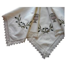 Tea Tablecloth Vintage 1980s Greek Olives Urns Lace Embroidery