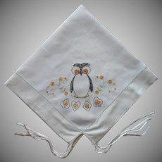 1920s Owl Card Table Cover Tabelcoth Vintage Hand Embroidered Linen