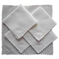 Tea Napkins 5 Antique Linen Hand Embroidery Cutwork Simple