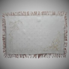 Victorian Tray Cloth Linen Damask Hand Embroidery Fringe Carving