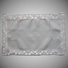 Monogram M 1920s Tray Cloth Linen Reticella Lace Vintage