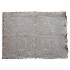 1920s Pillow Cover Net Darning Lace Knights Ladies Vintage Linen