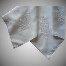 1920s Italian Work Tea Tablecloth Vintage Hand Embroidered Linen