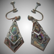 Vintage Mexico Earrings Abalone Inlay Alpaca Silver Dangle Screw Back