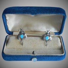 Sterling Silver Bee Earrings Vintage Screw Back Turquoise Blue Enamel