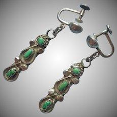 Navajo Sterling Silver Green Turquoise Vintage Earrings Dangle Screw Back