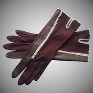 Vintage Gloves Brown Fabric Leather White Angora Trim M
