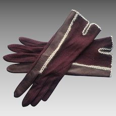 Vintage Gloves Brown Fabric Leather White Angora Trim M