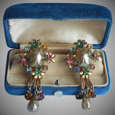 Lisner Faux Baroque Glass Pearls Colored Rhinestones Earrings Vintage TLC