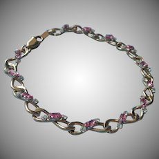Pink Stones Krementz Bracelet Vintage w Clear Glittery Large Size
