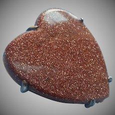 Antique Goldstone Heart Pin