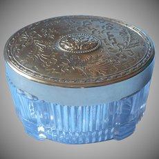 Vintage Vanity Jar Glass Polished Brass Lid