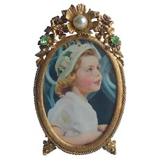 Vintage Florenza Jeweled Photo Picture Frame For Vanity