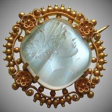 Antique 14K Moonstone Carved Intaglio Pin Ceres Demeter