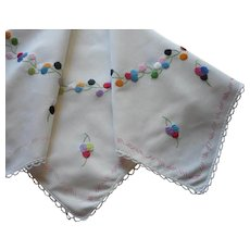 1920s Tea Tablecloth Hand Embroidered Dots Vintage