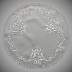 Cutwork Centerpiece Linen Vintage Hand Embroidery Lace