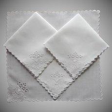 1910s Tea Napkins Antique 4 Cutwork Linen Hand Embroidery