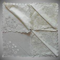 Madeira Napkins Vintage Unused Cutwork Linen Hand Embroidered