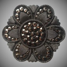 Button Lacy Glass Black Antique Victorian Hexagon Silver Luster Decoration