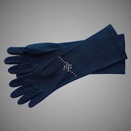 Vintage Gloves Black Helanca Nylon Rhinestones M to L