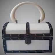 1960s Purse Mod Box Style Wooden Black White Vintage Japan