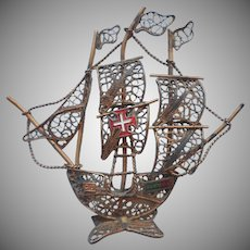 Portugal Filigree Little Ship Vintage Figure Souvenir
