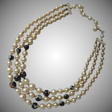 Millefiore Glass Faux Pearls 3 Strand Necklace 1950s Vintage