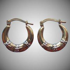 Gold Filled Sterling Silver Dragonflies Tiny Hoop Earrings Vintage