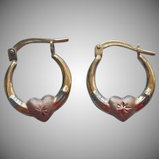 Tricolor Gold Filled Sterling Silver Hearts Tiny Hoop Earrings Vintage