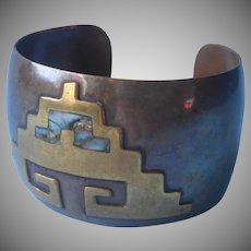 Vintage Copper Mexico Bracelet Brass Abalone Wide Curved Cuff
