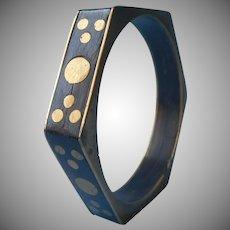 Horn Brass Hexagon Bangle Bracelet Vintage Boho Dots