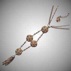 Lisner ca 1970 Long Necklace Vintage Gold Tone Tassel Faux Canetille
