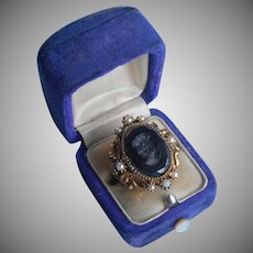 Intaglio Cameo Vintage Costume Ring Glass Faux Pearls Adjustable