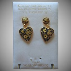 Damascene Pierced Earrings Toledo Spain Original Card Dangle Hearts