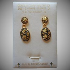 Damascene Pierced Drop Earrings Original Card Toledo Spain