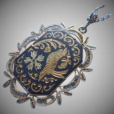 Damascene Filigree Necklace Toledo Spain Vintage Pendant Chain Bird