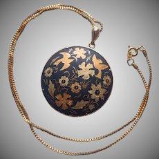 Damascene Pendant Chain Necklace Pair Doves Vintage Spain Toledo
