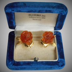 Carved Amber Roses Gold Filled Vintage Screw Back Earrings